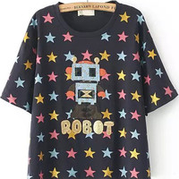 Black Robot Print T-Shirt with Colorful Stars Detail