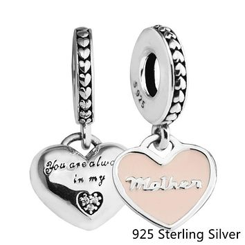 Beads Fits Pandora Bracelets 925 Sterling Silver Jewelry Mother & Daughter Hearts, Soft Pink Enamel Original Charms CKK