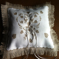 Rustic Ring Bearer Pillow, with  laser cut love birds and freshwater pearls