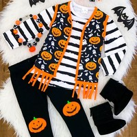 ORANGE PUMPKIN FRINGE VEST 3PC OUTFIT