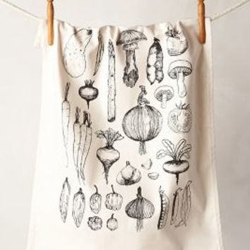 Vegetable Garden Dishtowel by Anthropologie Black One Size Kitchen
