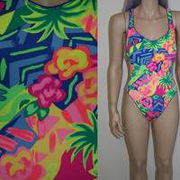 90s one piece swim suit body suit  /  grunge club kid hipster festival rave / M L 80s bright neon swimsuit