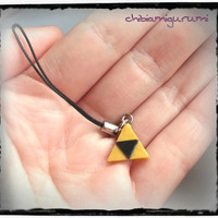 Triforce phone / cell strap charm chibi in polymer clay inspired from The Legend of Zelda's Nintendo videogame