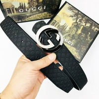 GUCCI tide brand simple wild double G buckle male smooth buckle belt