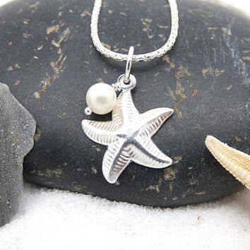 Sterling Silver Starfish Necklace, Beach Wedding Necklace, Starfish and Pearl Charm, Nautical Wedding Jewelry, Bridesmaid Starfish Necklace