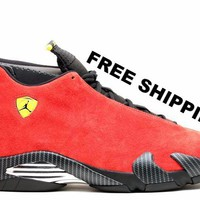 [FREE SHIPPING] Air Jordan 14 Ferrari  Basketball Sneaker 654459 670