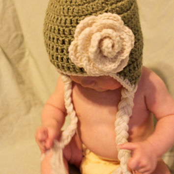 Baby Girl Light Green Earflap Hat with Flower Ready by makinitmama