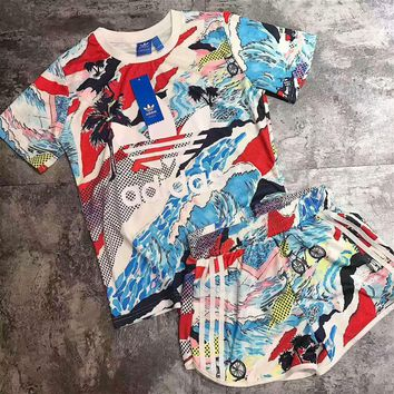 """Adidas"" Print Short sleeve Top Shorts Sweatpants Set Two-Piece Sportswear"