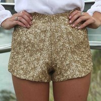 High Waisted Gold Sequin Stretch Mini Shorts