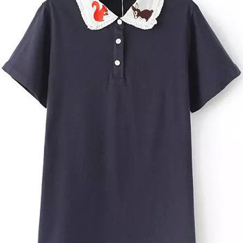 Navy Squirrel Embroidered With Buttons Short Sleeve T-shirt