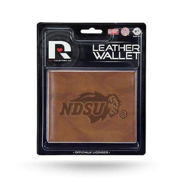 CUPUPI8 North Dakota State Bison MM Wallet Brown LEATHER Embossed Bifold University