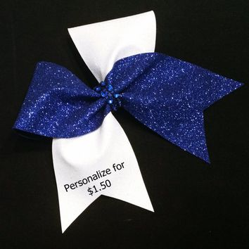 Glitter cheer bow, Cheer bow, Royal blue cheer bow, White Cheer bow, customized cheer bow, cheer bows, softball bow, dance bow, large bow