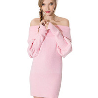 Pink Off Shoulder Knit Dress