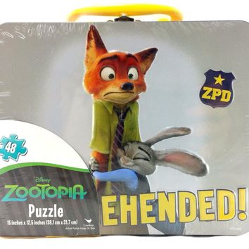 Disney Zootopia Large Lunch Tin Box w/48 pc Puzzle