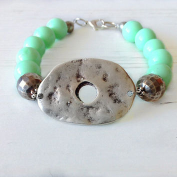 Mint bracelet, mint green bracelet, large bead bracelet, beaded jewelry, green and silver bracelet, hammered connector,