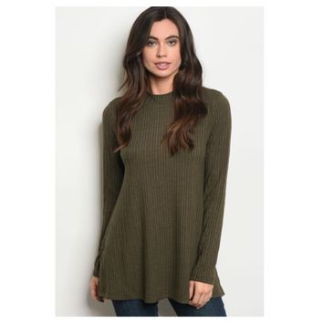 Cozy Me, Silky Soft Ribbed Knit Olive Sweater