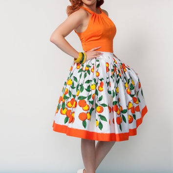 Pinup Couture Jenny Skirt in Orange Branch Border Print