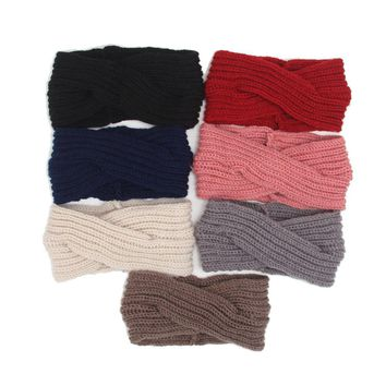 10PCS 2018 New Knitted Twist HeadBand Earmuffs Ear Warmers Scrunchy Cross Turban Headband Bandana Head Bandage Hair Accessories
