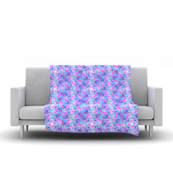 "Ebi Emporium ""Seeing Stars"" Blue Pink Fleece Throw Blanket"