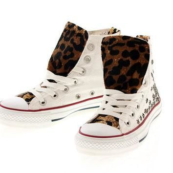 Studded Converse Star Studs with faux leopard fur by CUSTOMDUO