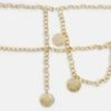 Missguided - Gold Coin Detail Belly Chain