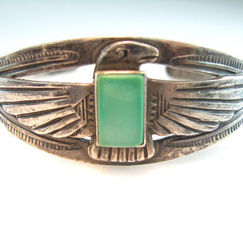 Native American Cuff Bracelet Old Navajo Sterling Silver Thunderbird Green Stone Arrows Feathers Suns