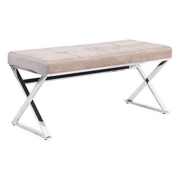 Allegiance Bench Beige Velvet Polished Stainless Steel