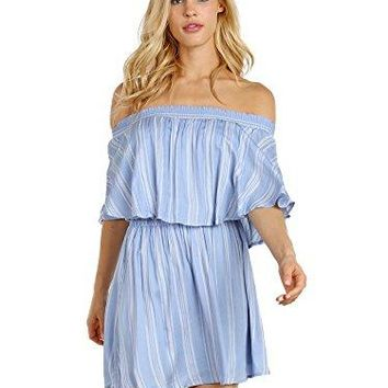 Show Me Your Mumu Women's Casita Mini Dress Sidewalk Stripe Periwinkle Small