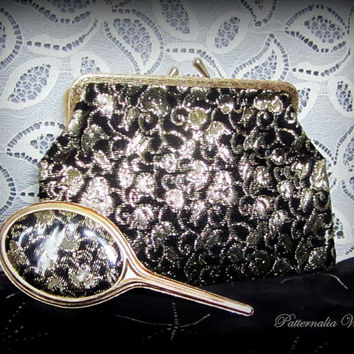 Vintage 1960's Lurex Evening Bag. Black & Gold Brocade Clutch Bag or Make-up Purse with Matching Make-Up Mirror