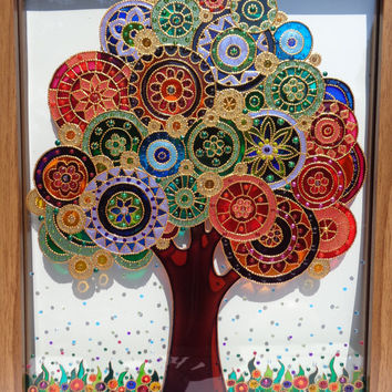 "Tree art 12""x15"" Tree of life Glass painting Glass art Painted glass Bohemian decor Wall decor"