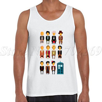 Charactor of Doctor Who cartoon printed Men tank tops Little Who Parody Minions male Vest fashion cool singlets