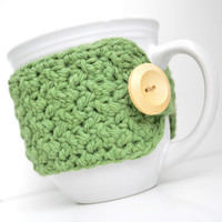 Cotton Coffee Mug Cozy, Sage Green, Crocheted Mug Cozy, Cup Sleeve