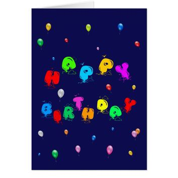 Happy Birthday Colorful Balloons customizable Card
