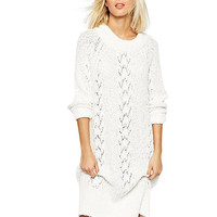Long Sleeve Cutout Knit Long Sweater