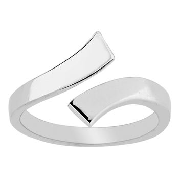 Sterling Silver Rhodium Plated Split Ends By Pass Style Adjustable Toe Ring