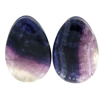 "1 1/4"" (32mm) Rainbow Fluorite Teardrops Stone Plugs #7132"