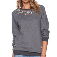 HEMANT AND NANDITA Crystal Neckline Sweatshirt in Charcoal