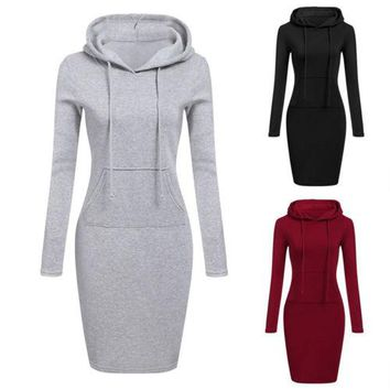 New Women Casual Hooded Hoodie Dresses Solo Simple Style Long Sleeve Casual Pocket Bodycon Tunic Dress Ladies