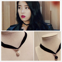 658 Hot New Exo Collares Bijoux Imitation Pearl Black Short Necklace Statement For Women Jewelry Choker Gift Girl One Direction