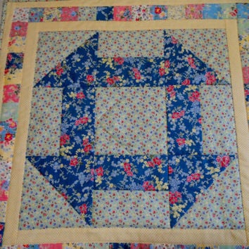 Quilted Wall Hanging Table Topper Candle Mat Cottage Chic Churn Dash