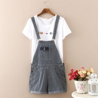 Korean Summer Women's Fashion Decoration With Pocket Stripes Shorts [4918832772]