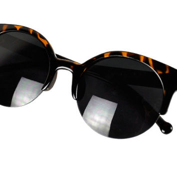 Unisex Retro Round Cat Eye Sunglasses