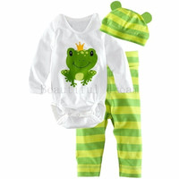 Baby Cotton Frog Prince Print O-Neck Bodysuit Striped Pants and Hat Set