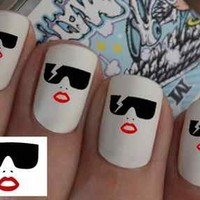 Lady Gaga Nail Wraps Nail Art Water Transfers Decal Natural / False Nails