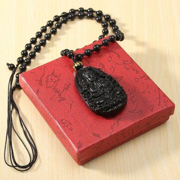 Best Price Chinese Natural Black Obsidian Carved Thousand hand Bodhisattva Buddha Pendants Necklace Gemstone Fengshui Crafts