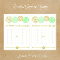Mint Green &  Gold Bingo Gift Cards Bridal Shower Game- Printable Bridal Shower Game- Mint Green Gold Flowers - Bingo Blank Cards