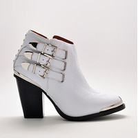 Westin High Heel Buckle Ankle Booties in White Cord by Jeffrey Campbell | Edge of Urge