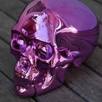Sacred Skull Ornament Chrome Blush Pink