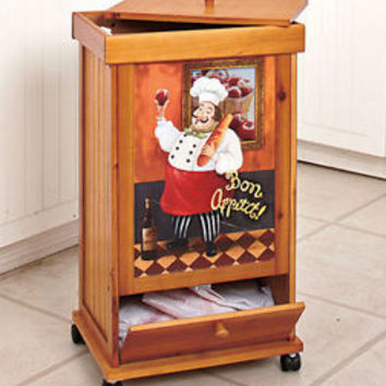 Fat Italian Chef Rolling Wooden Trash Bin W/Storage Compartment Kitchen  Decor