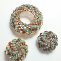 "Sarah Coventry ""Song of India"" Demi Parure- Brooch and Earrings Vintage from 1965 Golt Tone with Faux Ruby, Sapphire & Turquoise Stones"